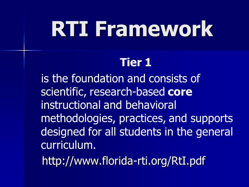 RTI Framework Tier 1.