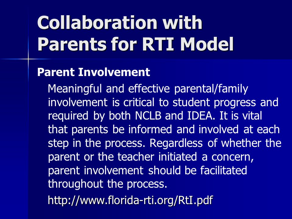 Collaboration with Parents for RTI Model