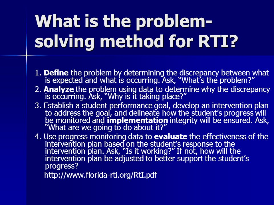 What is the problem-solving method for RTI