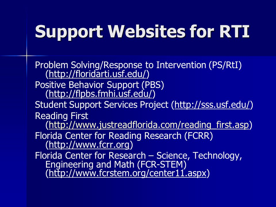 Support Websites for RTI