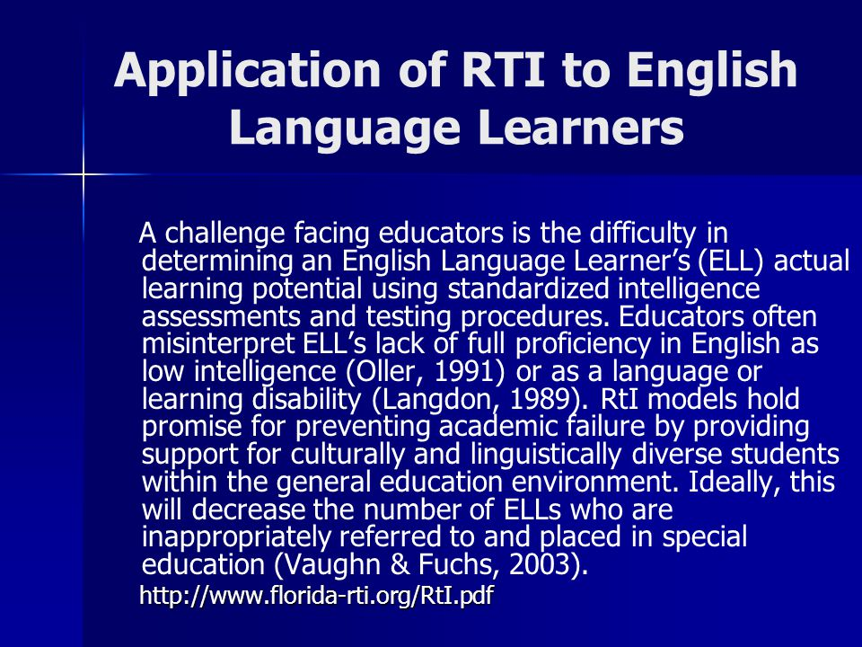 Application of RTI to English Language Learners