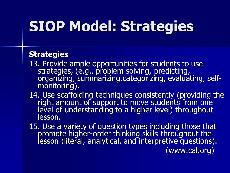 SIOP Model: Strategies