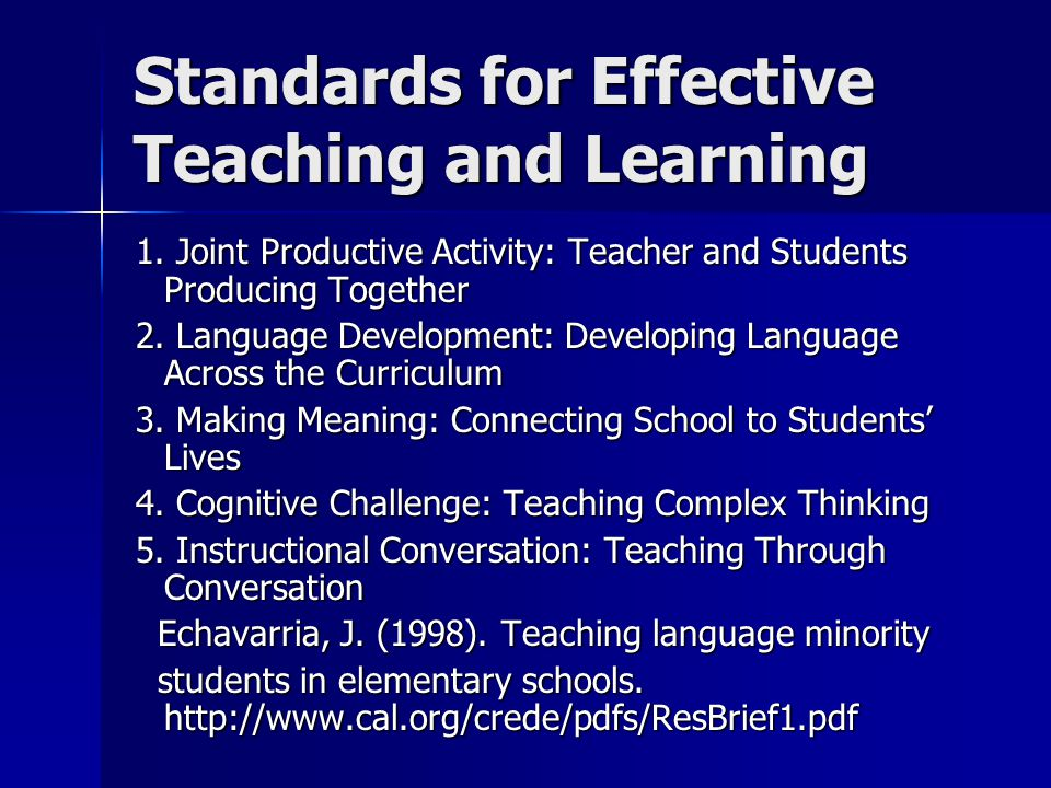 Standards for Effective Teaching and Learning