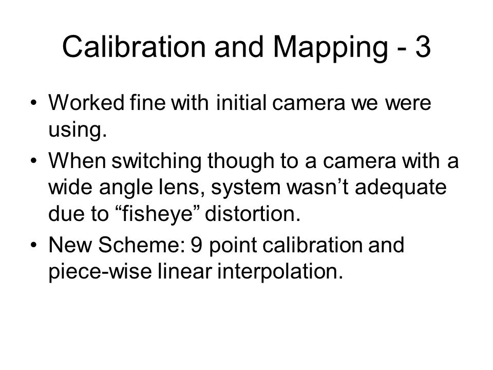 Calibration and Mapping - 3