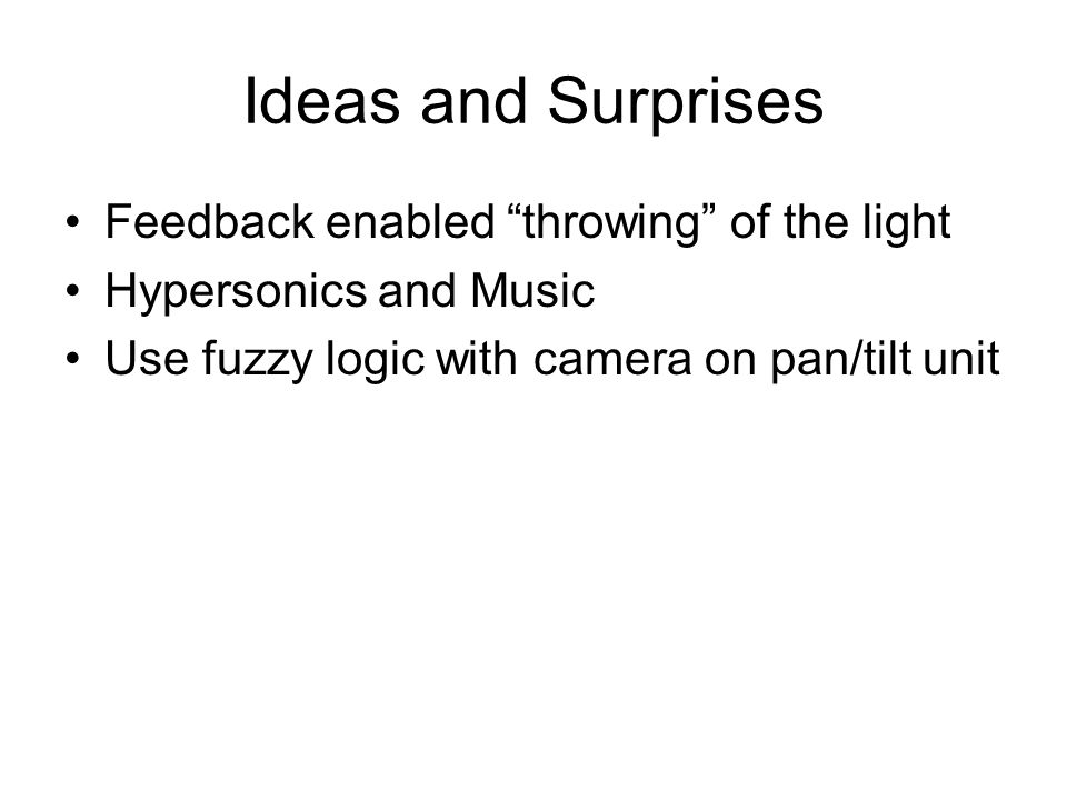 Ideas and Surprises Feedback enabled throwing of the light