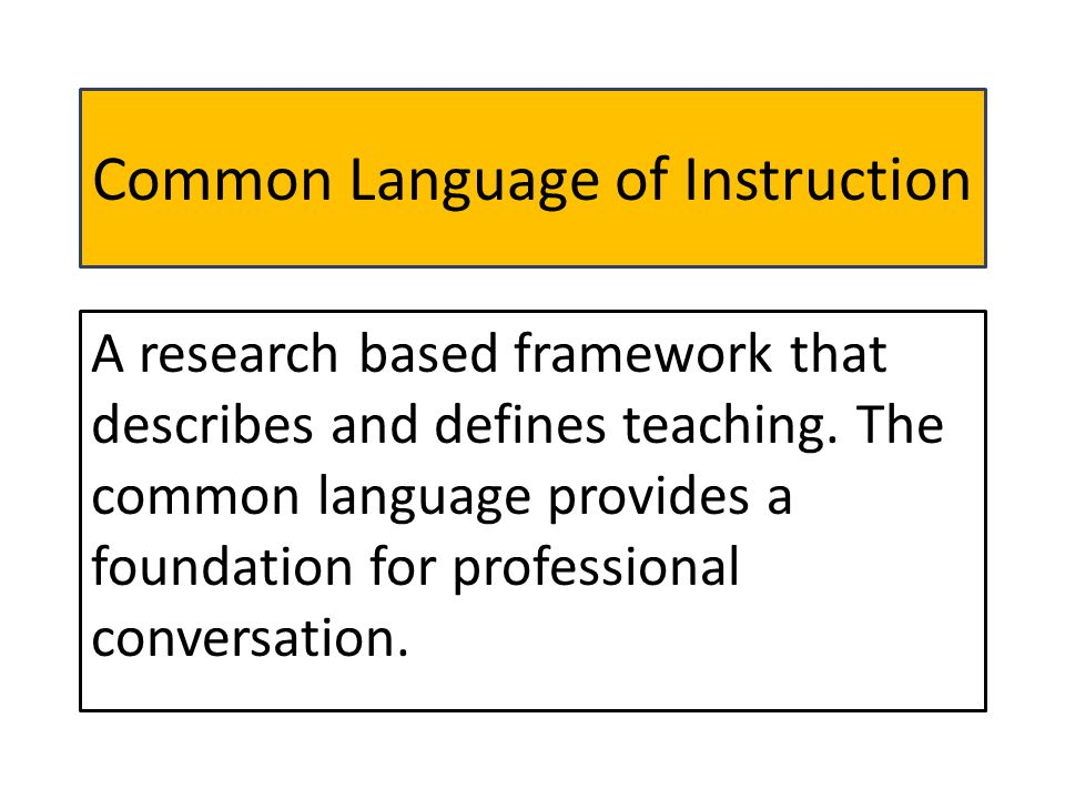 Common Language of Instruction