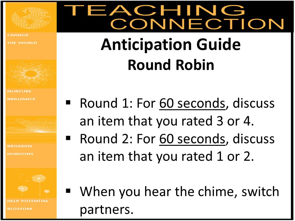Anticipation Guide Round Robin