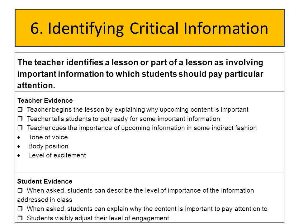 6. Identifying Critical Information
