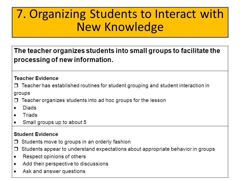 7. Organizing Students to Interact with New Knowledge