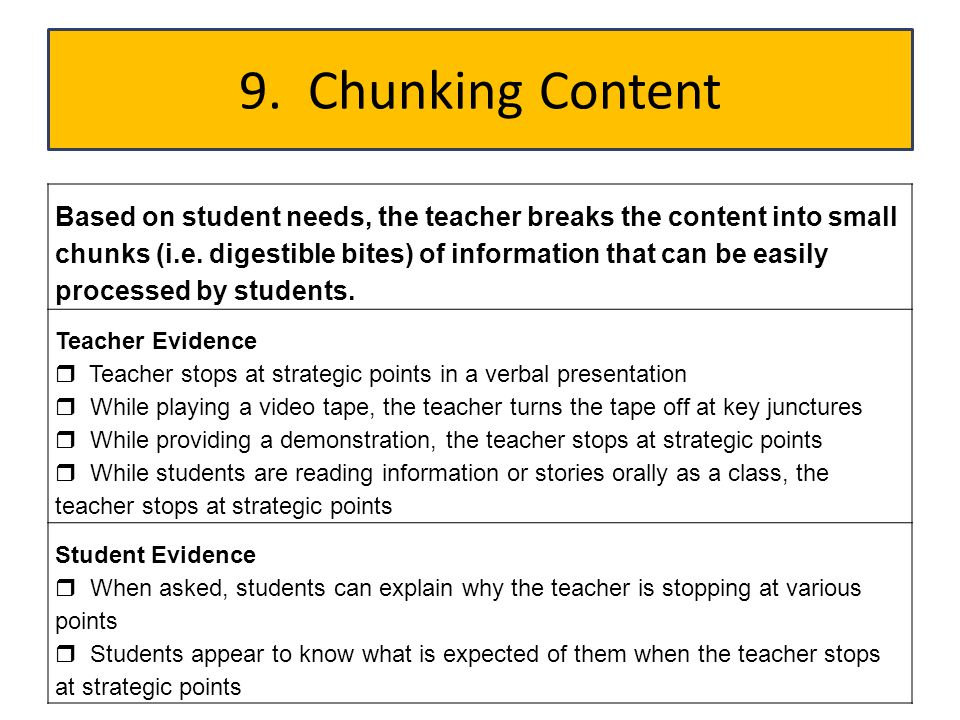 9. Chunking Content