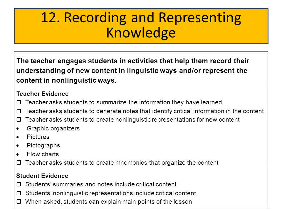 12. Recording and Representing Knowledge