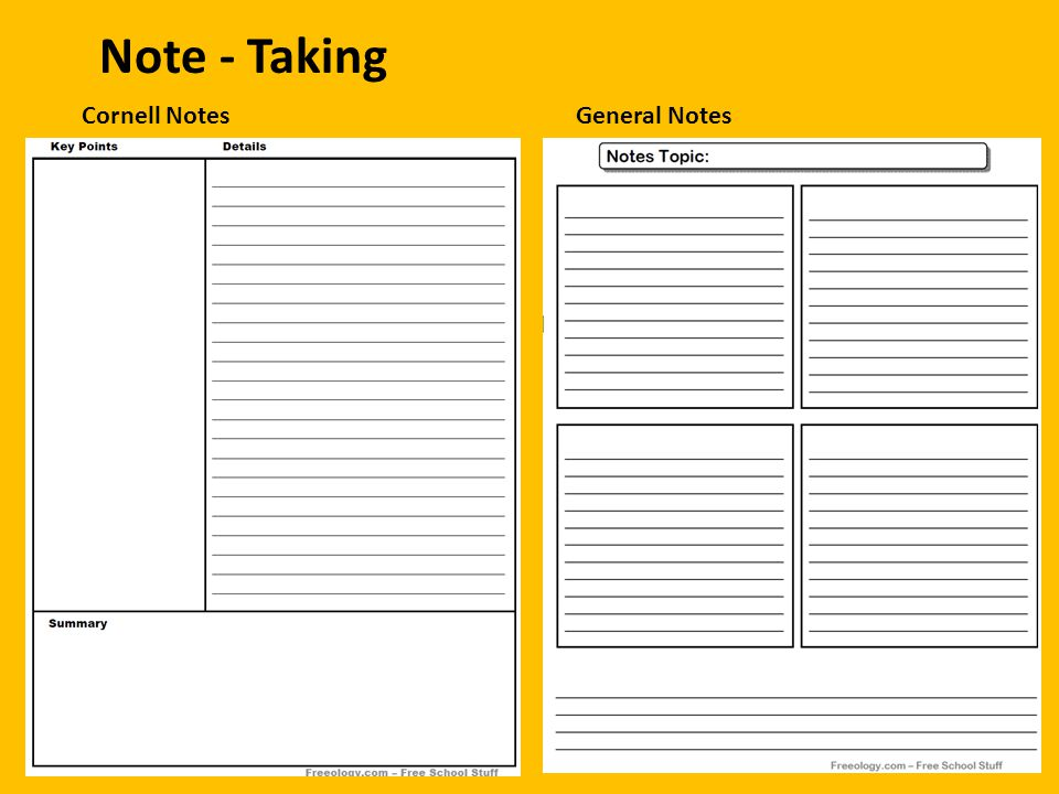 Note - Taking Cornell Notes General Notes