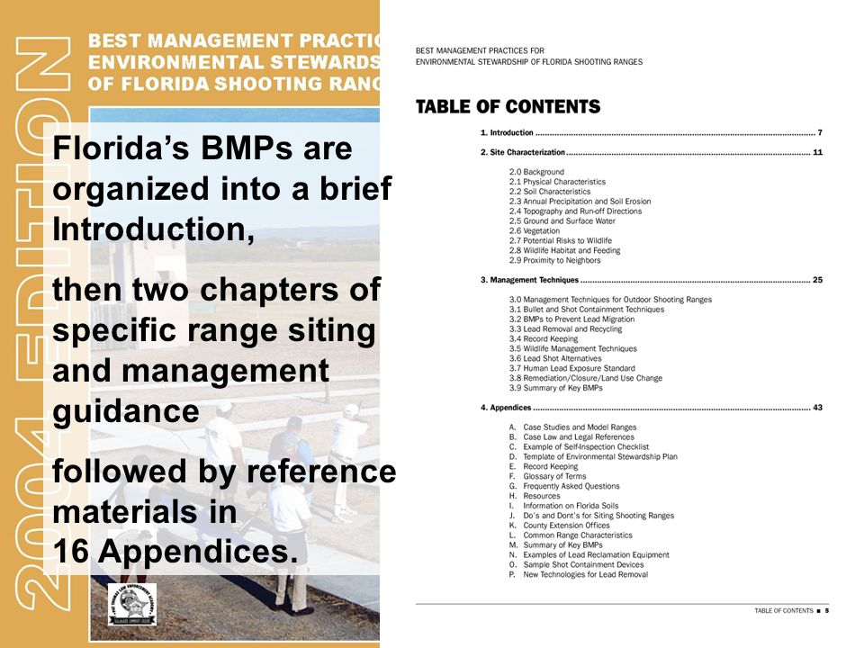 Florida's BMPs are organized into a brief Introduction,