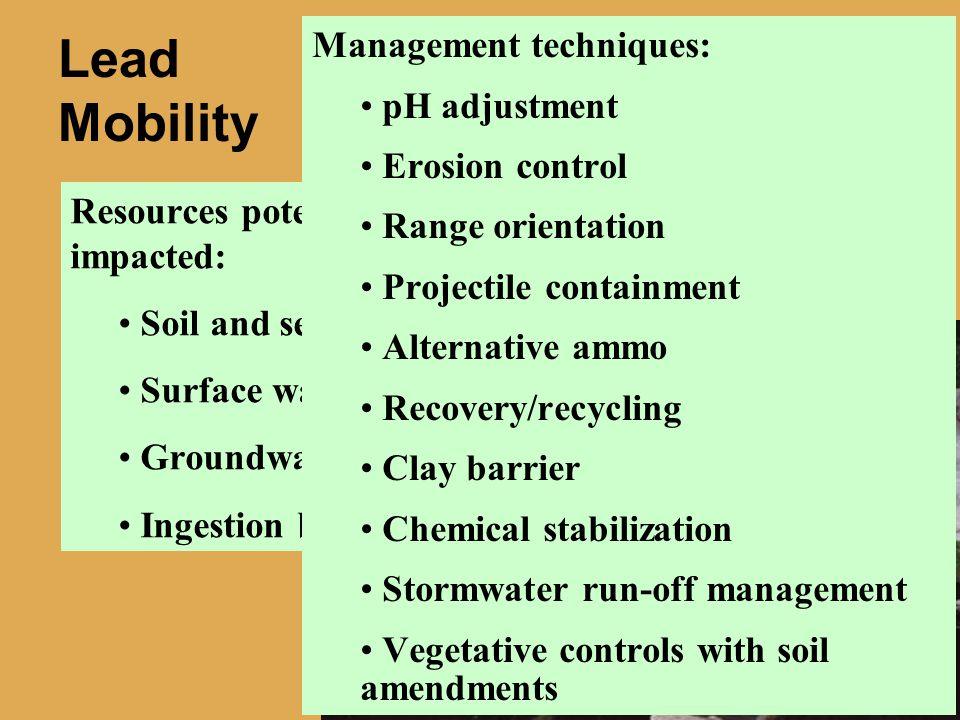 Lead Mobility Management techniques: pH adjustment Erosion control