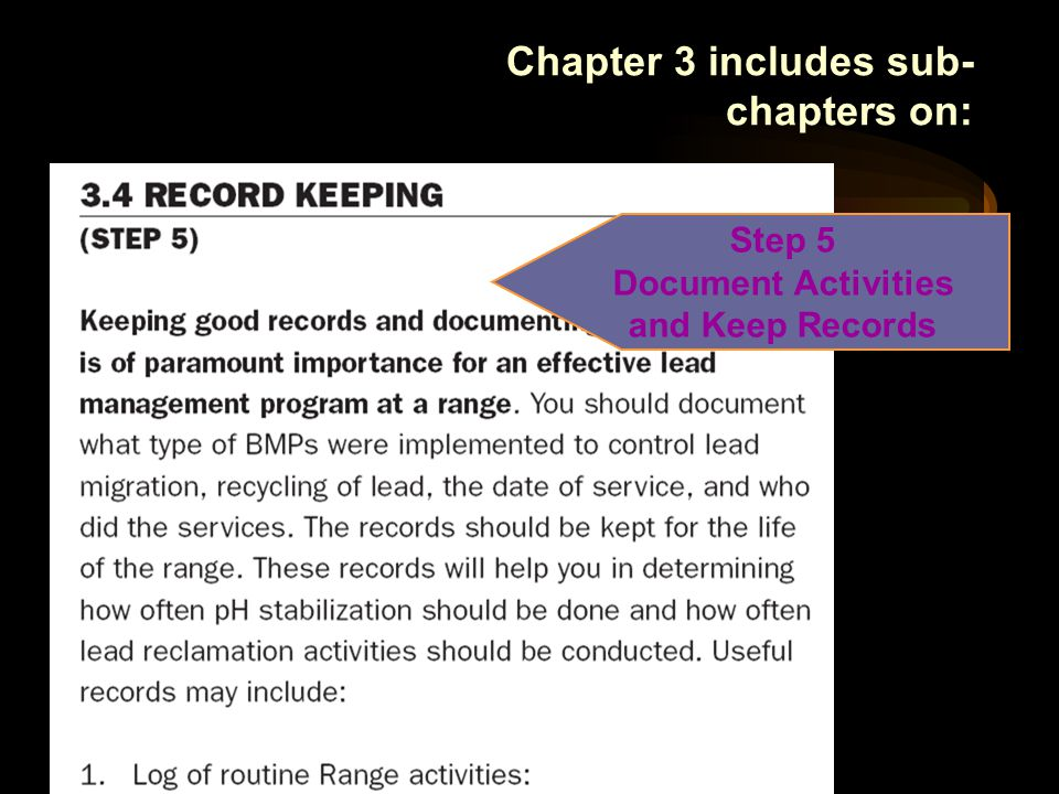 Step 5 Document Activities and Keep Records