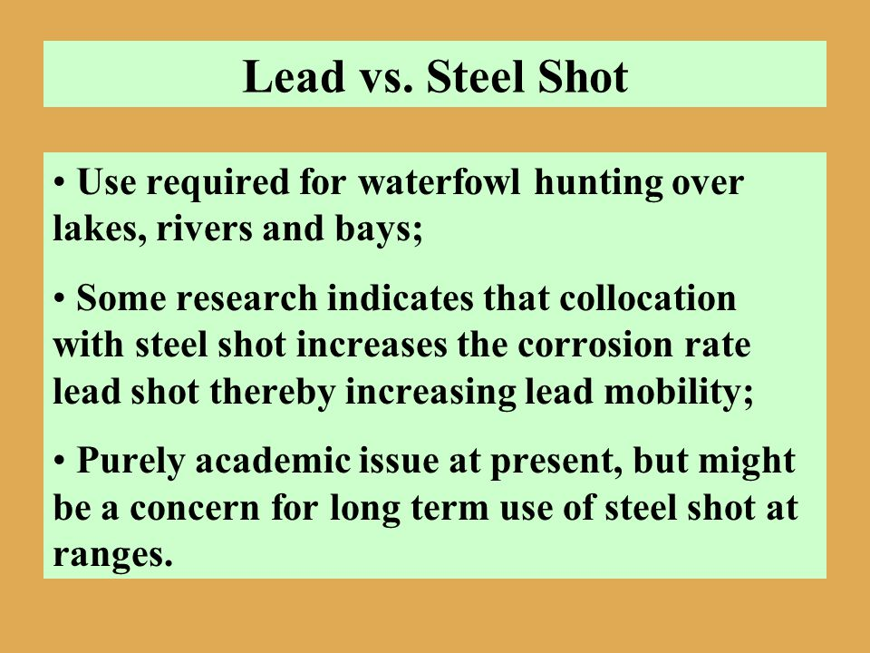 Lead vs. Steel Shot Use required for waterfowl hunting over lakes, rivers and bays;
