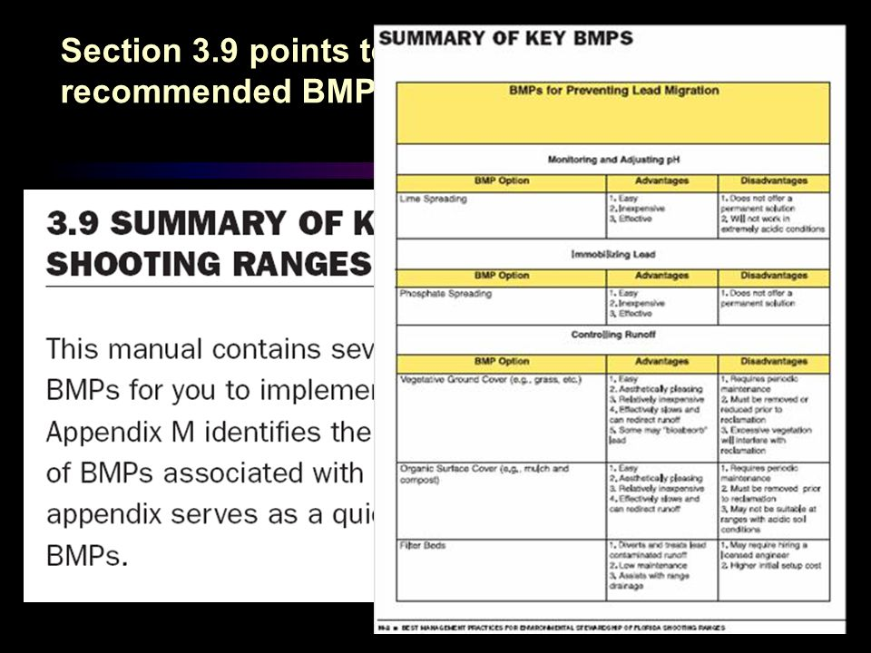 Section 3.9 points to Appendix M of highly recommended BMPs.