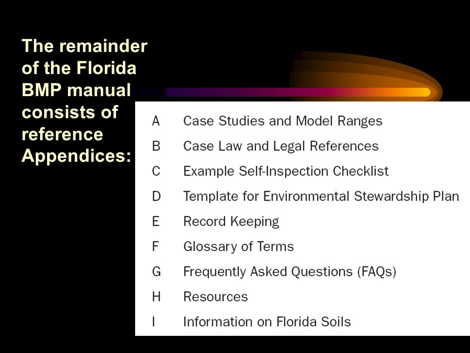 The remainder of the Florida BMP manual consists of reference Appendices:
