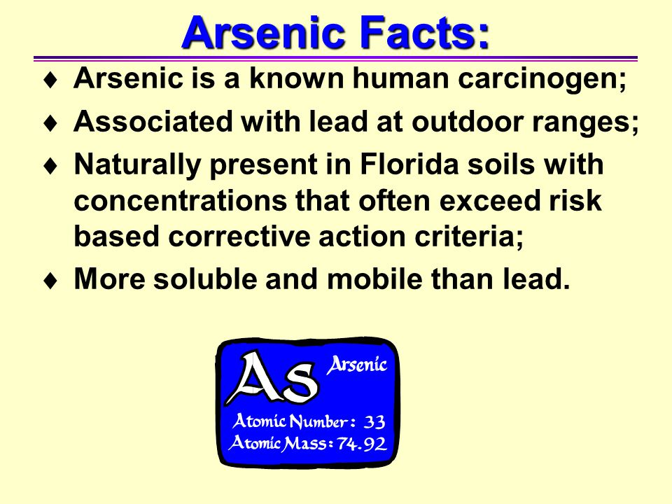 Arsenic Facts: Arsenic is a known human carcinogen;