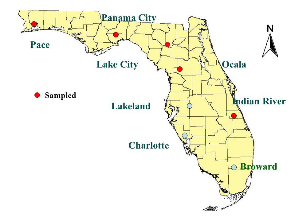 Panama City Pace Lake City Ocala Indian River Lakeland Charlotte