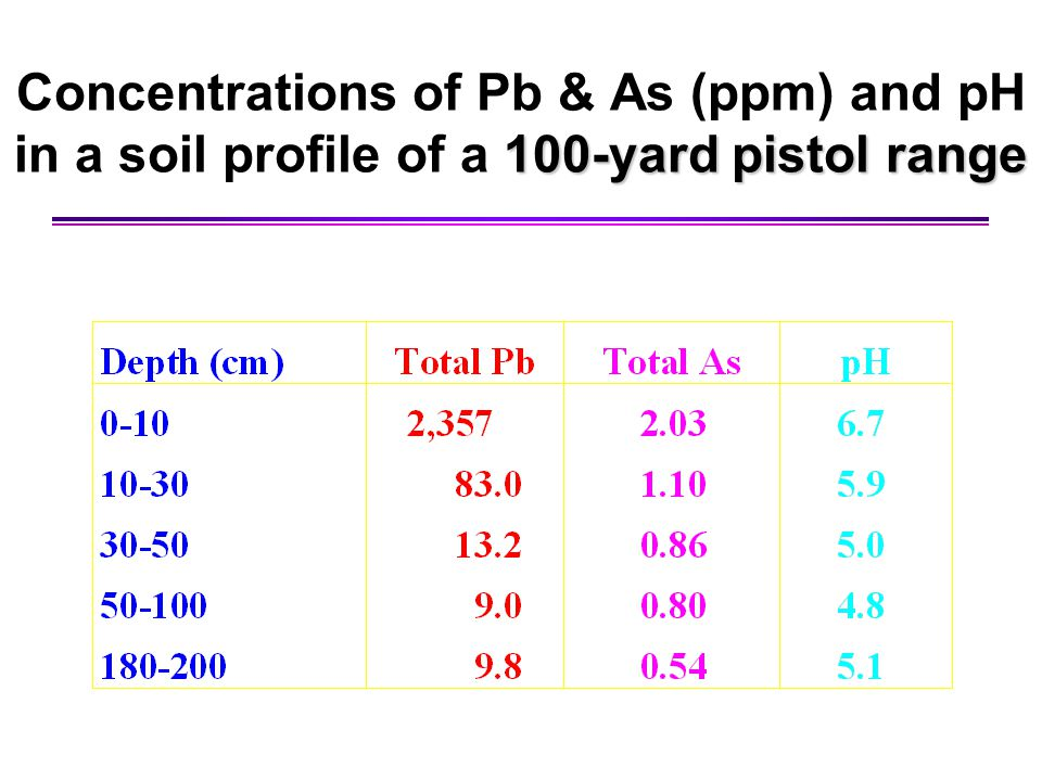 Concentrations of Pb & As (ppm) and pH in a soil profile of a 100-yard pistol range