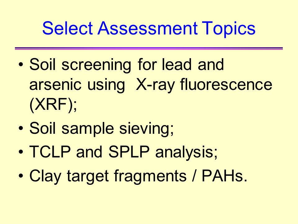 Select Assessment Topics