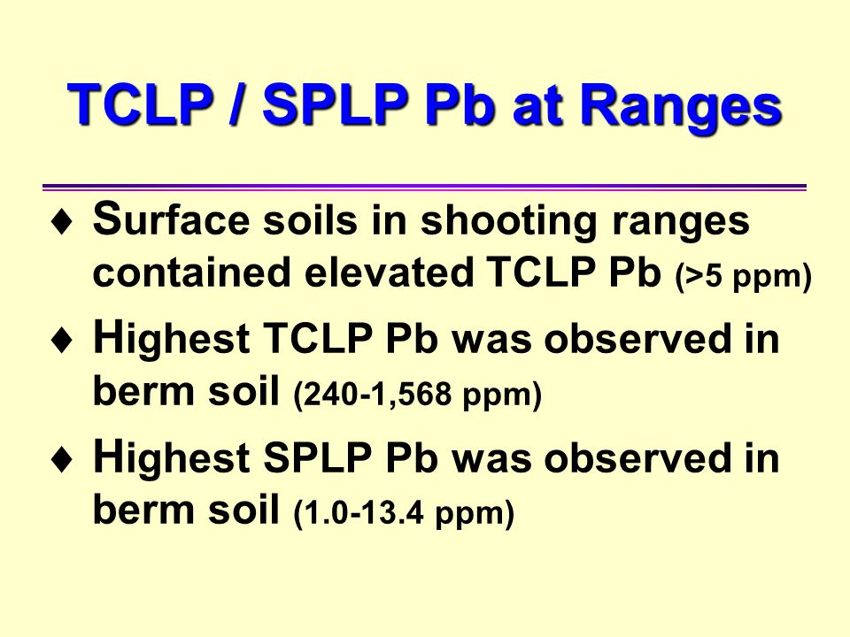 TCLP / SPLP Pb at Ranges Surface soils in shooting ranges contained elevated TCLP Pb (>5 ppm)