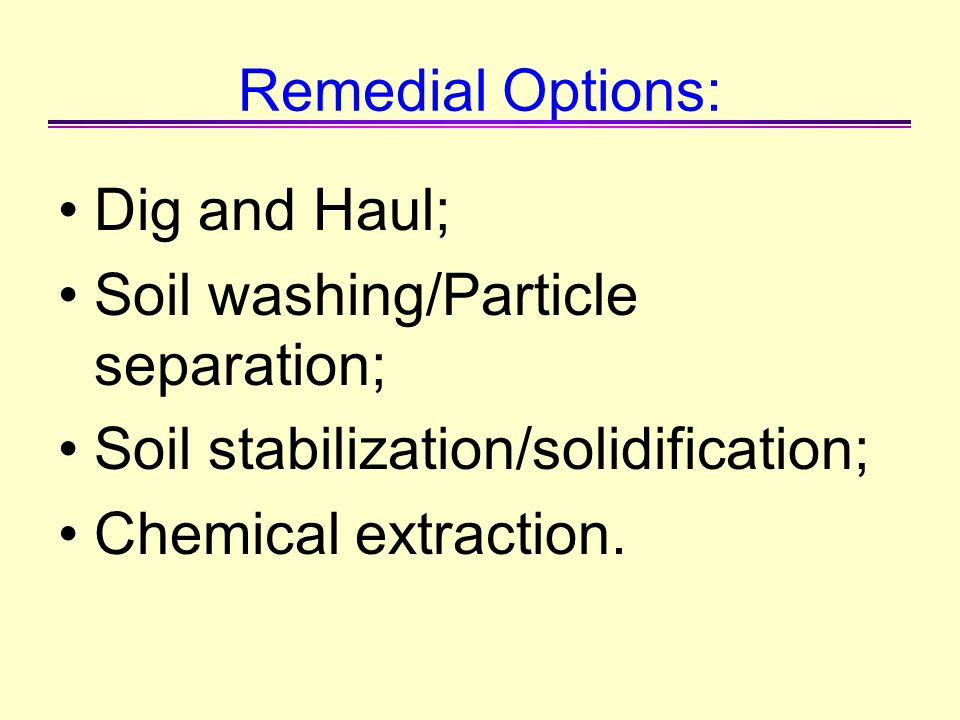 Remedial Options: Dig and Haul; Soil washing/Particle separation; Soil stabilization/solidification;