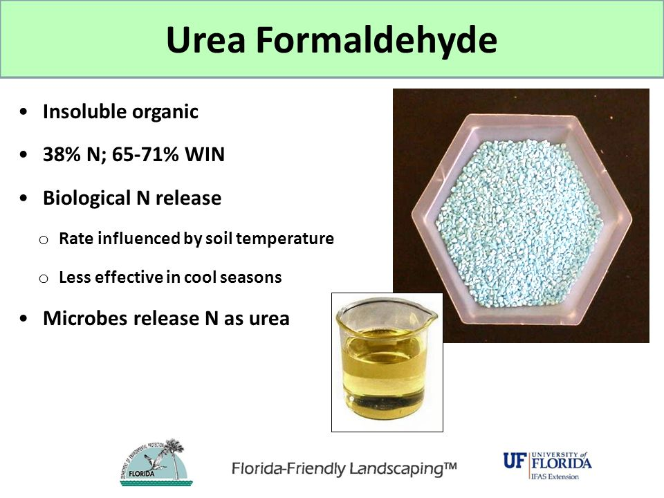 Urea Formaldehyde Insoluble organic 38% N; 65-71% WIN