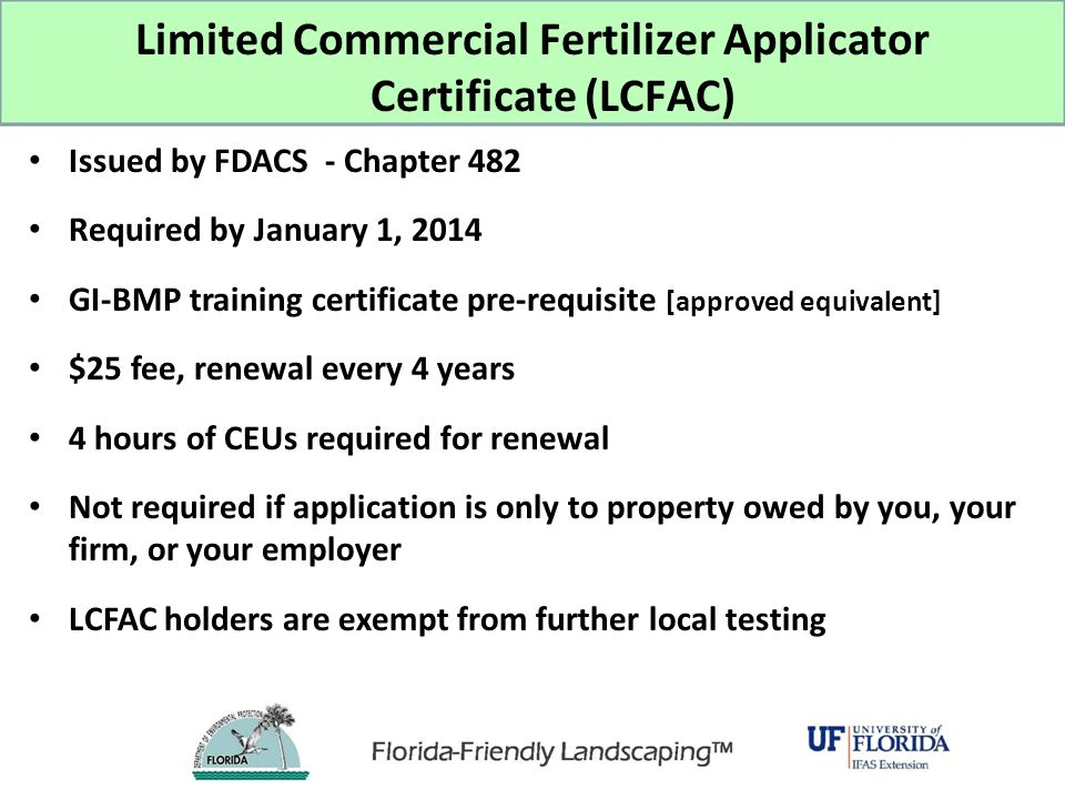 Limited Commercial Fertilizer Applicator Certificate (LCFAC)