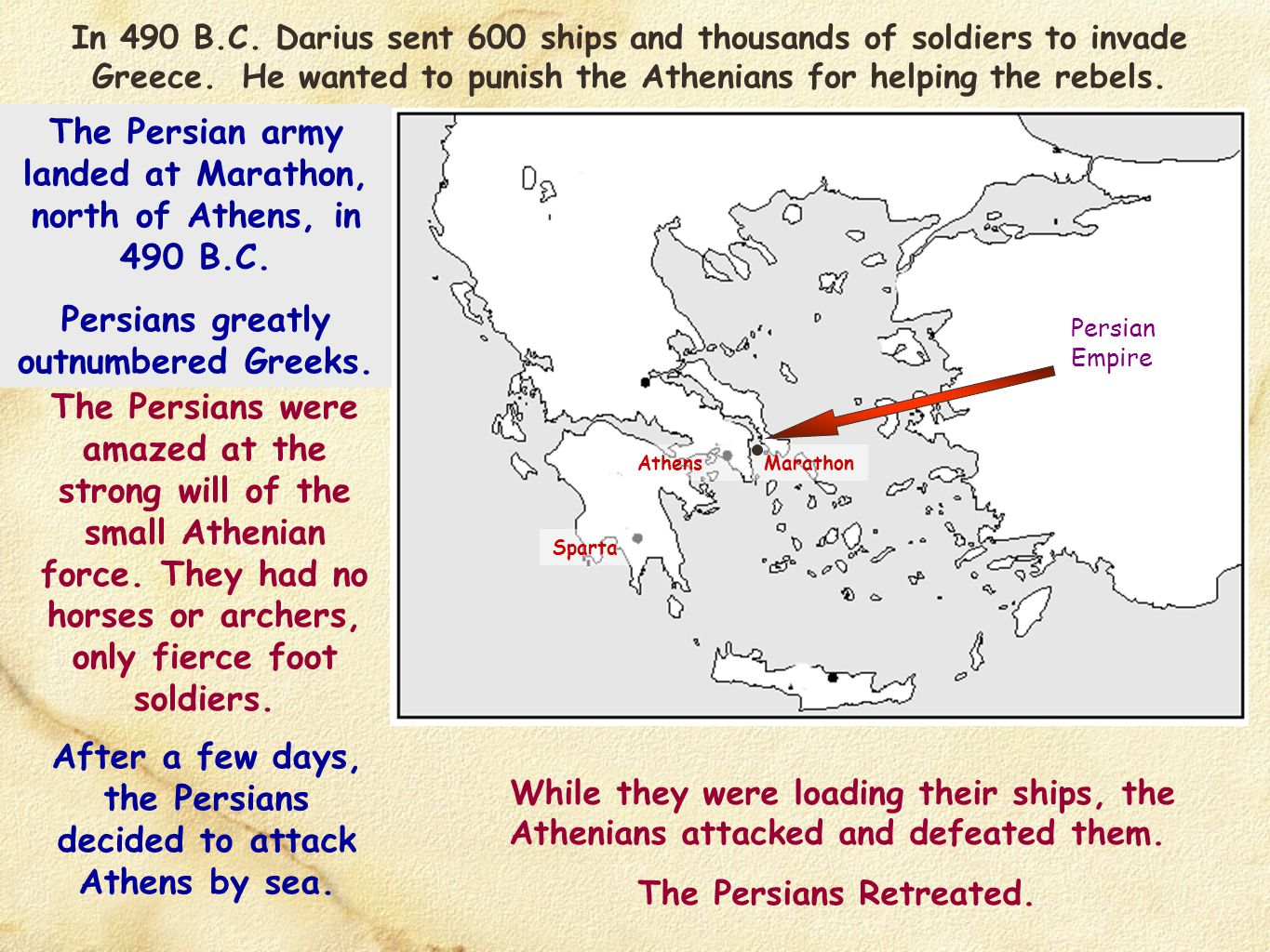The Persian army landed at Marathon, north of Athens, in 490 B.C.