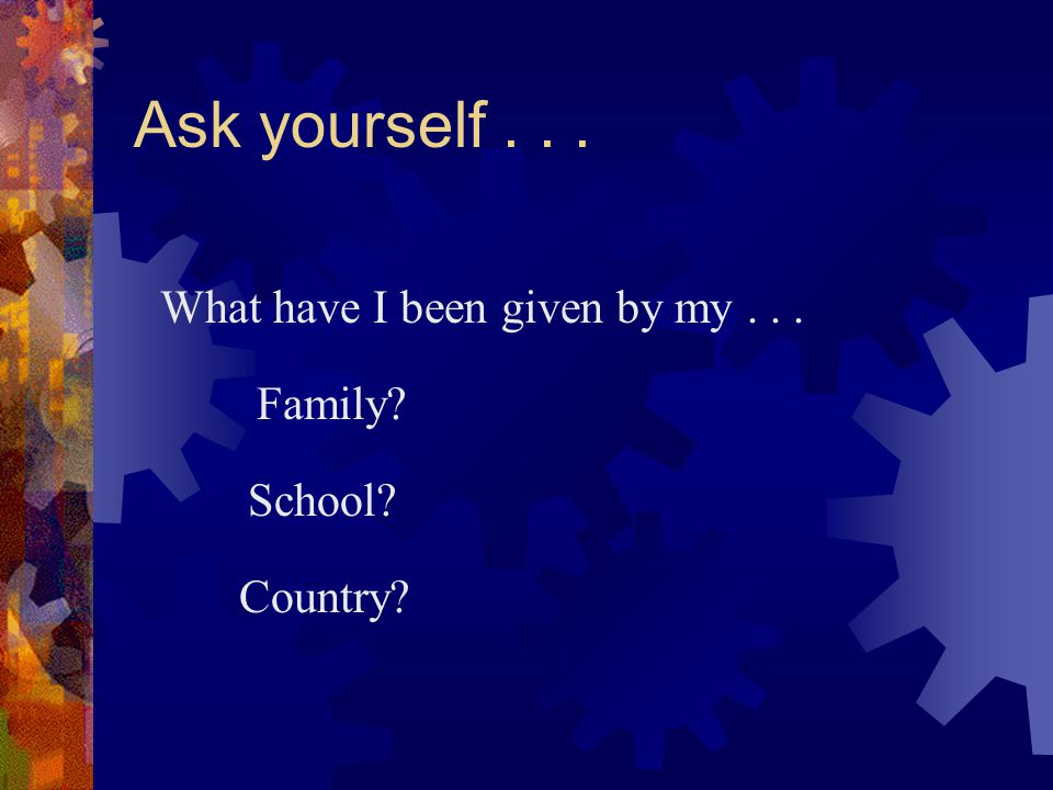 Ask yourself . . . What have I been given by my . . . Family School