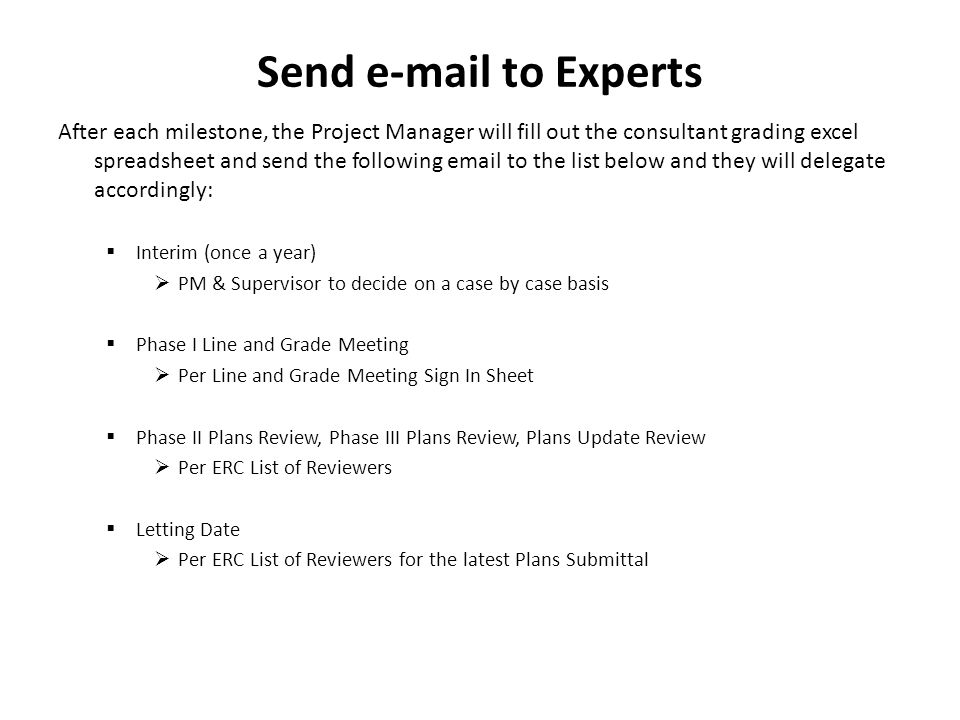 Send e-mail to Experts