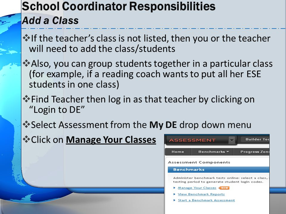 School Coordinator Responsibilities Add a Class