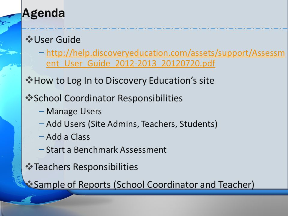 Agenda User Guide How to Log In to Discovery Education's site
