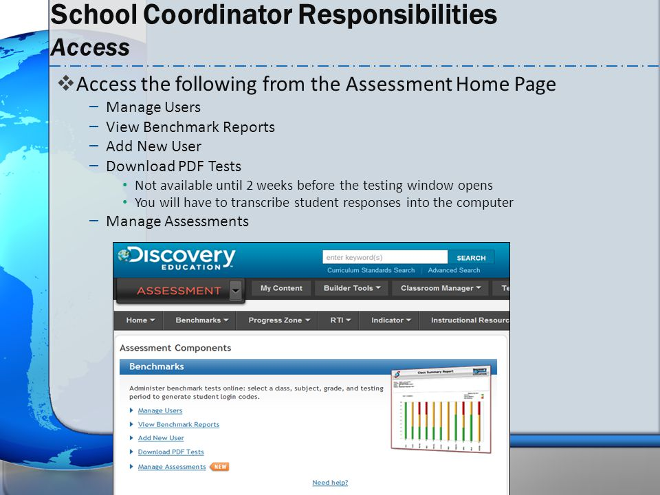 School Coordinator Responsibilities Access