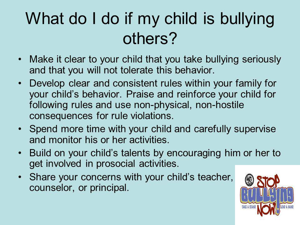 What do I do if my child is bullying others
