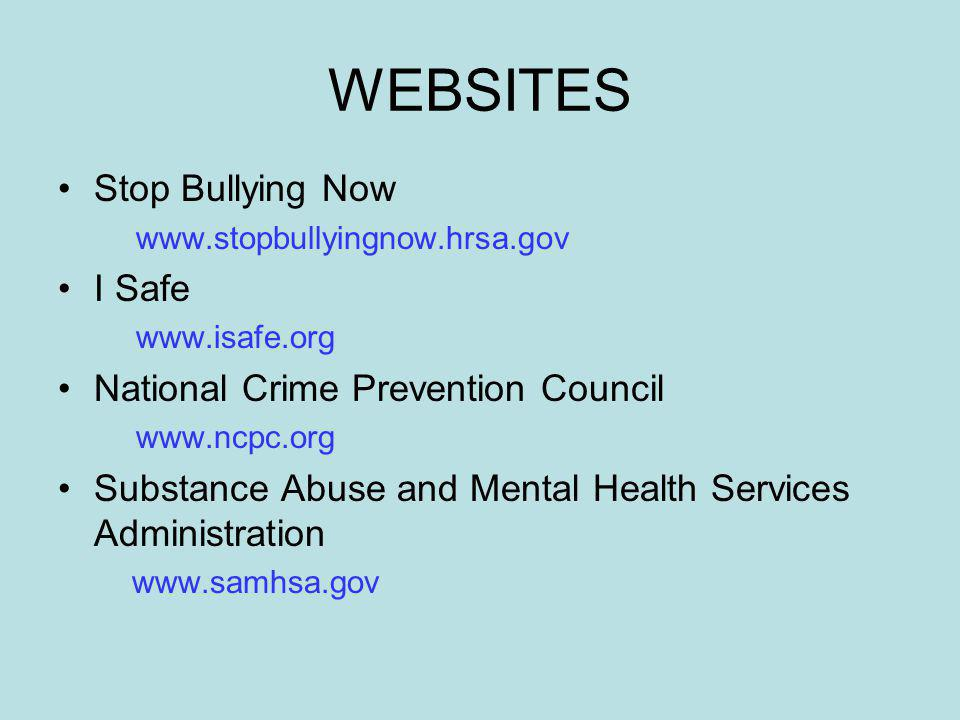 WEBSITES Stop Bullying Now I Safe National Crime Prevention Council