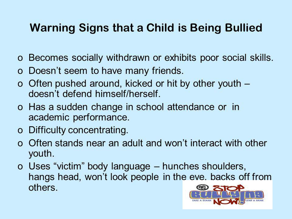 Warning Signs that a Child is Being Bullied
