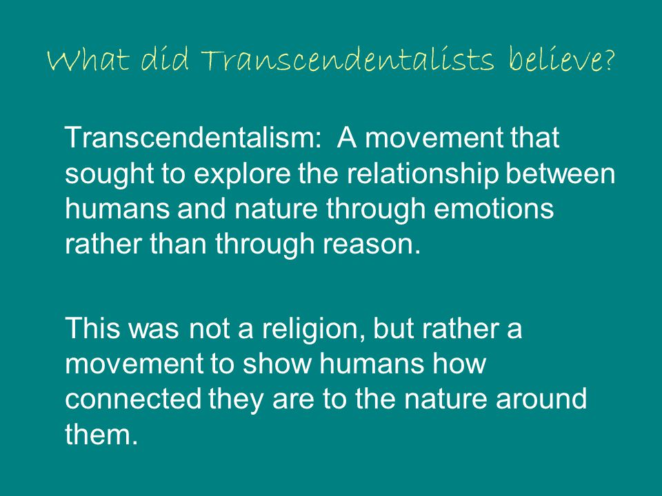 What did Transcendentalists believe