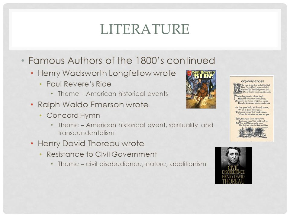 Literature Famous Authors of the 1800's continued