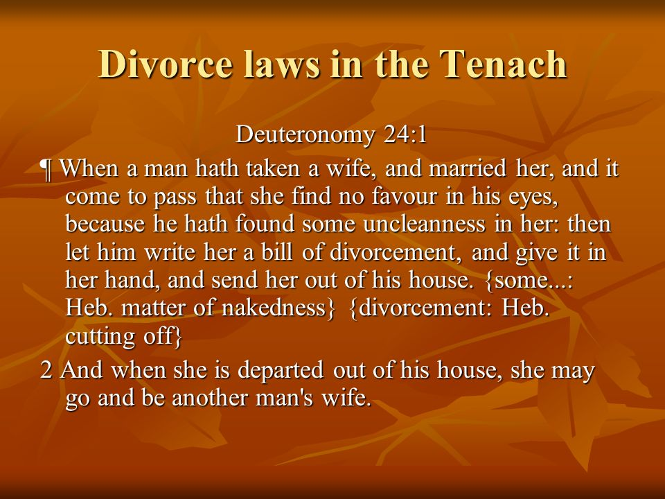 Divorce laws in the Tenach