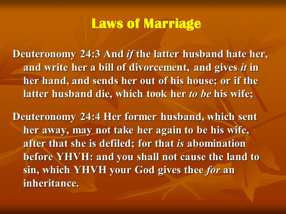 Laws of Marriage