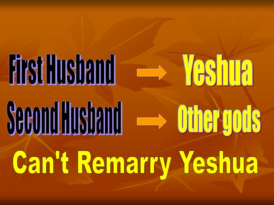 First Husband Yeshua Second Husband Other gods Can t Remarry Yeshua