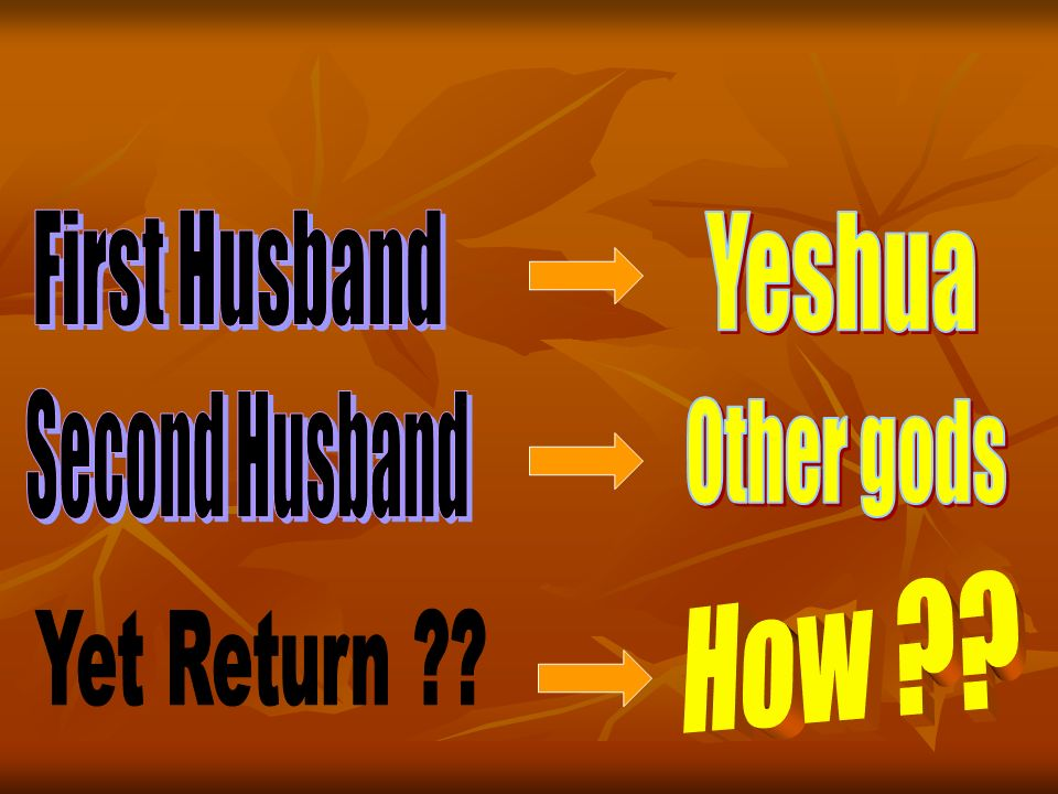 First Husband Yeshua Second Husband Other gods How Yet Return