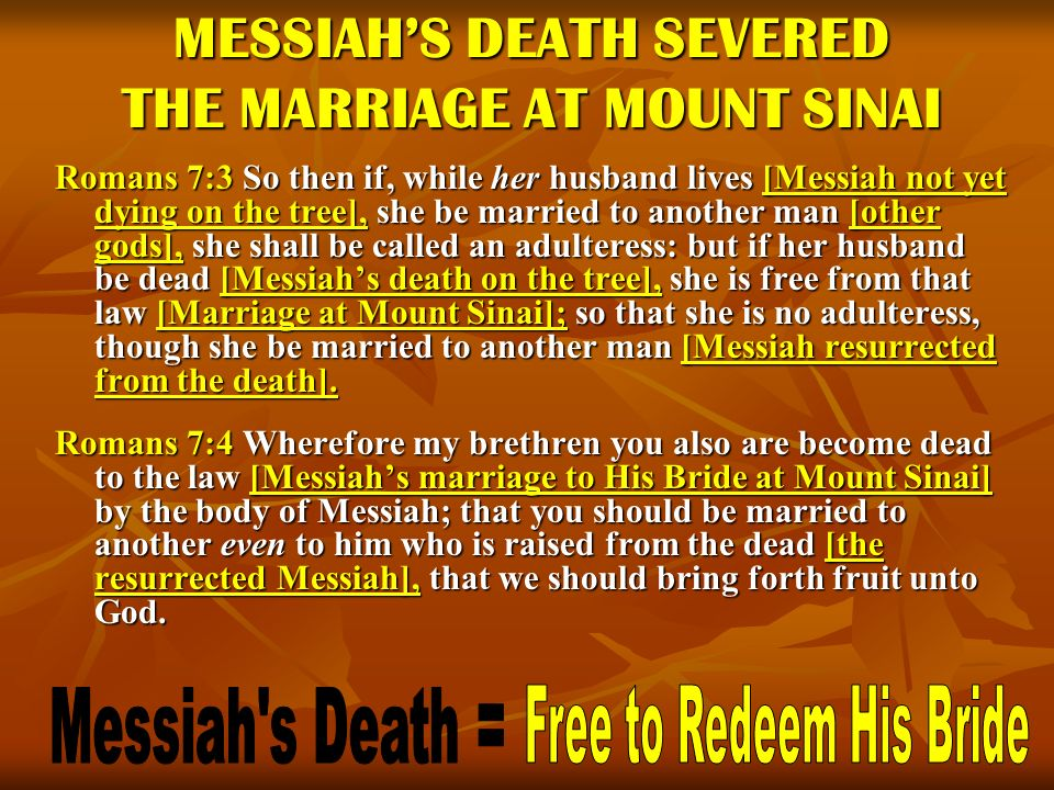 MESSIAH'S DEATH SEVERED THE MARRIAGE AT MOUNT SINAI