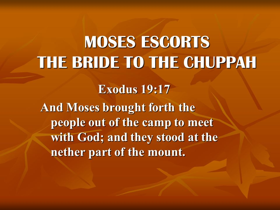 MOSES ESCORTS THE BRIDE TO THE CHUPPAH
