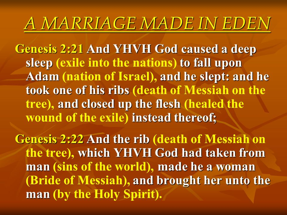 A MARRIAGE MADE IN EDEN