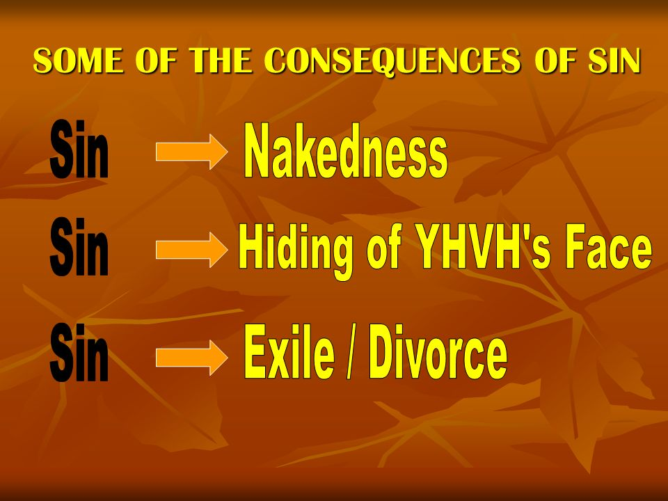 SOME OF THE CONSEQUENCES OF SIN