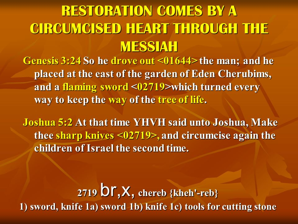 RESTORATION COMES BY A CIRCUMCISED HEART THROUGH THE MESSIAH